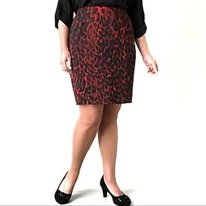 Lane Bryant Red Leopard Pencil Skirt Size 16